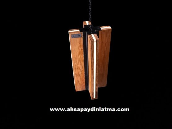 Lantern Sarkıt Dekoratif Ahşap Aydınlatma Modeli 6